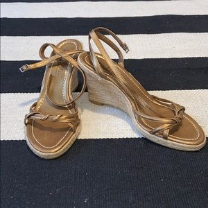 Golden leather strapped wedges